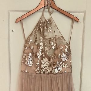 Size 12 Amsale Fawn Sequined Tulle Halter